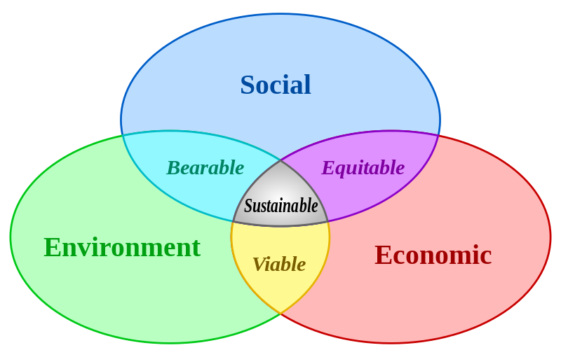 Sustainability from three perspectives: Social, Environmental and Economic