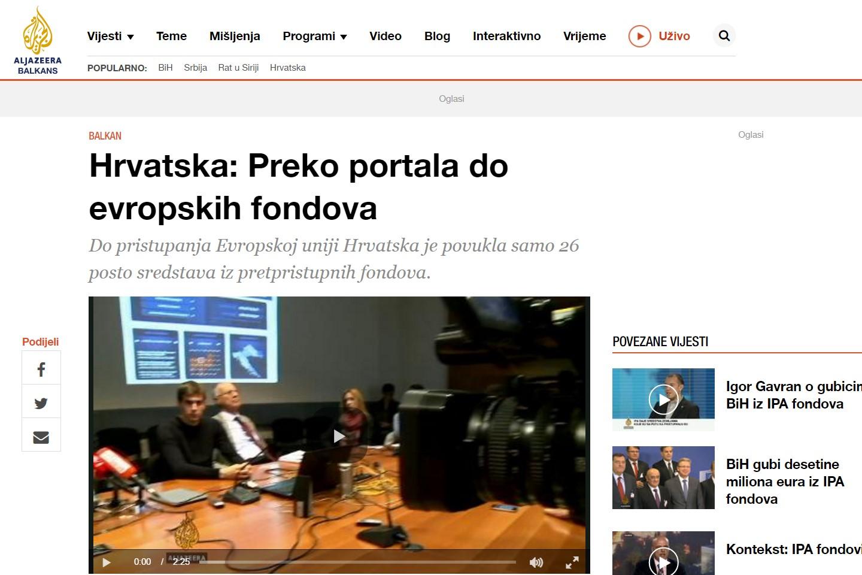 Al Jazeera (November 2013): Croatia – reaching European funds through a portal